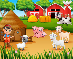 Farmer and farm animal in the farmyard