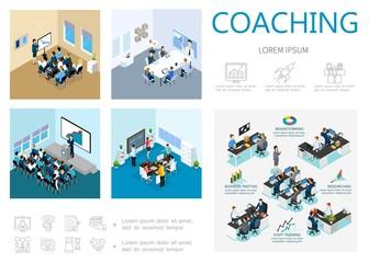 Isometric Coaching Infographic Concept
