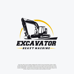 Excavator Heavy Machine logo designs template, Great Excavator logo Badge Vector, Logo symbol icon