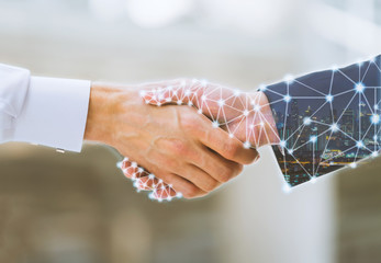 Business man handshake and network connection graphic