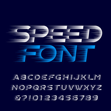 Speed alphabet font. Fast speed effect type letters and numbers. Stock vector typescript for your design. Easy color change.