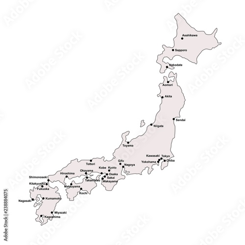Japan outline map with stroke isolated on white background with ...