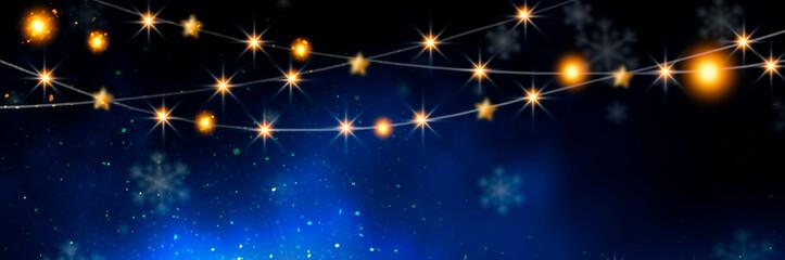 Night sparkling background with stars, bokeh background with snowflakes. Empty winter background, snowy, celebratory