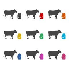 Milk can and cow icon or logo, color set