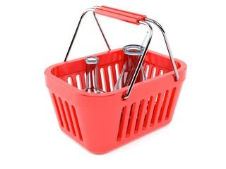 Chemistry flasks inside shopping basket