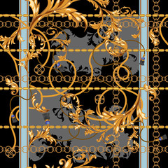 Baroque patch with golden chains and stucco. Seamless pattern for scarfs, print, fabric.