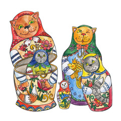isolated illustration of cats-dolls, family cats, mother and daughter. Matreshka in the form of a cat. Wooden dolls from Russia