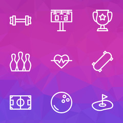 Game icons line style set with golf field, football field, fitness and other flag  elements. Isolated vector illustration game icons.