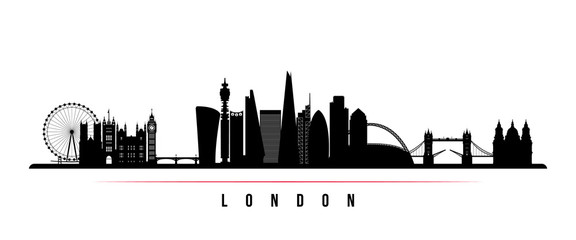 London city skyline horizontal banner. Black and white silhouette of London city. Vector template for your design. - fototapety na wymiar