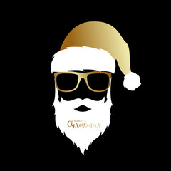 Santa Claus with golden hat and glasses on black background. Christmas illustration.