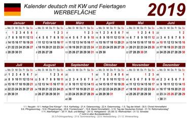 Kalender 2019 - rot - quer - deutsch - mit Feiertagen
