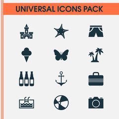 Summer icons set with camera, shorts, suitcase and other ale