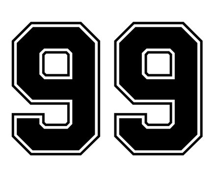 Classic Vintage Sport Jersey Number 99 in black number on white background for american football, baseball or basketball / logos and t-shirt.