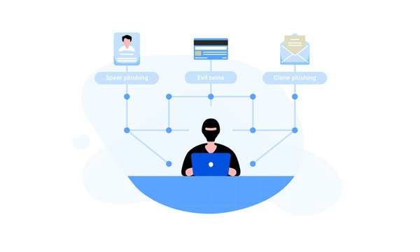 A hacker who's making illegal phishing actions, such as spare and clone phishing, with the help of evil twin fraudulent Wi-Fi access point. Phishing and hacking concept. Vector illustration for web.