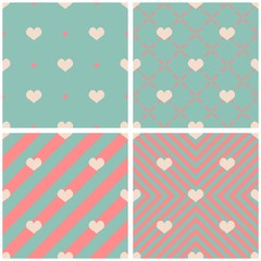 Tile vector pattern with hearts on pink and mint green background