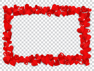 Horizontal rectangle frame consisting of many small red paper hearts on transparent background