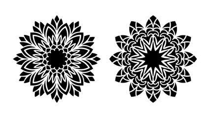 Set of two vector mandalas. Tattoo floral patterns. Tribal design.