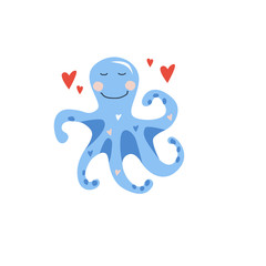Vector hand drawn illustration for kids of cute blue little octopus with red hearts. Valentine card