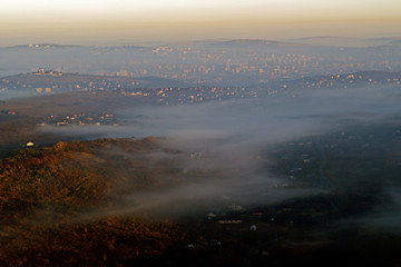 aerial drone view with misty landscapes