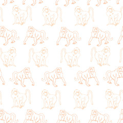 Seamless olive baboons pattern with  in safari style for textile, fabric, fashion clothes. Animal illustration isolated on background
