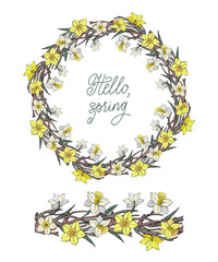 Set of Vector floral wreath with yellow narcissus and snag, and seamless horizontal brush with flowers isolated on a white background