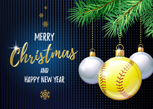 Merry Christmas and Happy New Year. Sports greeting card. Softball ball as a Christmas ball. Vector illustration.