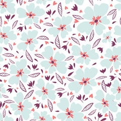 Little flowers. Seamless pattern with cute flowers. Delicate texture