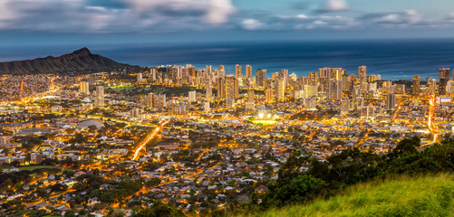Honolulu from the Tentalus Drive, Oahu, Hawaii
