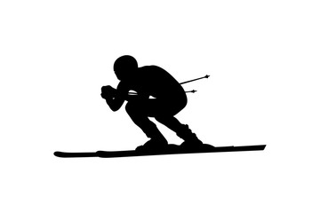 alpine skiing downhill skier athlete black silhouette