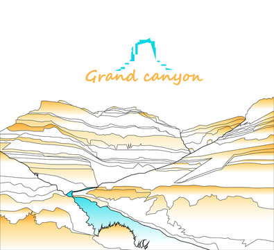 Western desert. Rocks.  Outlines badge. White, yellow and blue tones. Minimalism.