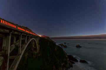 Bixby Creek Bridge at Night at Highway 1 in California