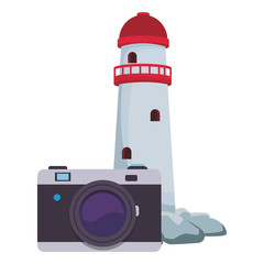 camera and lighthouse