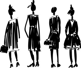Fast hand-drawn fashion sketch with models vector