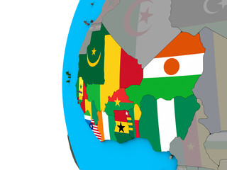 Western Africa with national flags on blue political 3D globe.