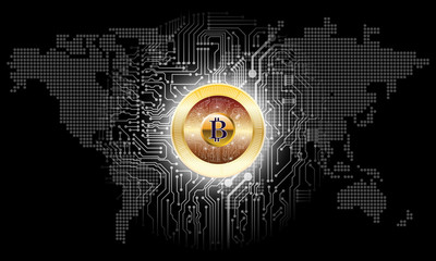 Bitcoin digital currency, Cryptocurrency digital money, technology network concept, for wallpaper background in stock marget vector illustration - Vector