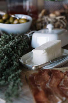 Butter and ham on the buffet of a luxury brunch