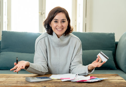 Attractive successful entrepreneur woman with credit card accounting finance Happy free of debts