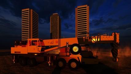 construction site on a desert 3d rendering