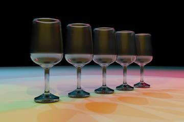 Transparent glasses. Color lighting background.