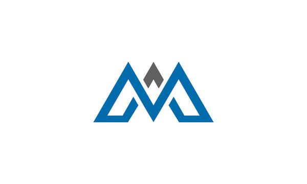 M letter mountain logo