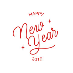 Happy new year 2019 -  hand lettering round desiign inscription vector.