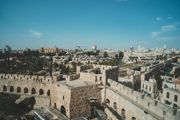 Top part of the Jaffa Gate structure in The Old City of Jerusalem, Israel