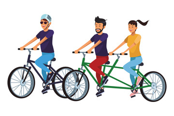 friends riding bicicle