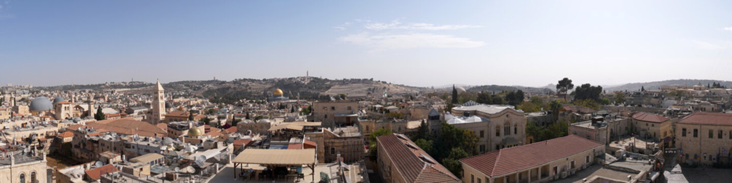 Panorama of old city Jerusalem, Israel from southern side. Top view of the roofs of the old historic district of Jerusalem.