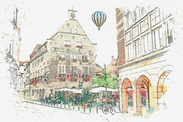 Foto op Aluminium Art Studio Watercolor sketch or illustration of traditional German architecture and street cafe in Muenster in Germany. People relax, eat and communicate with each other. Hot air balloon flies in the sky.
