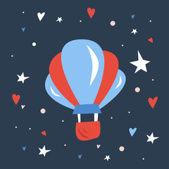 Vector handdrawn scandinavic illustration for kids of red and blue  air balloon on clear night sky with stars and hearts. Children design