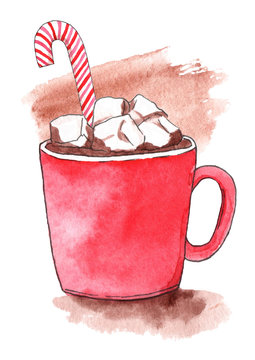 Christmas cup of hot chocolate cocoa with marshmallow and caramel. Watercolor hand-drawn
