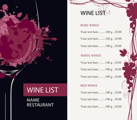 Vector wine list for restaurant or cafe with a glass of wine with abstract spots and splashes of red wine, with a grapevine and a price list