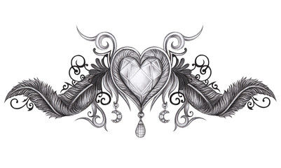 Art Design Heart Wings Tattoo. Hand drawing on paper.