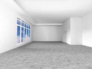 Empty room with window and door , 3D rendering